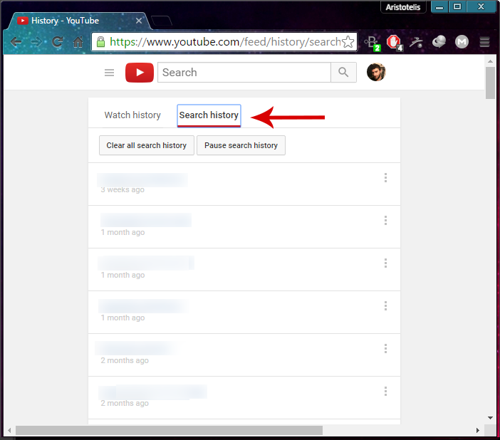 how to remove search history in youtube