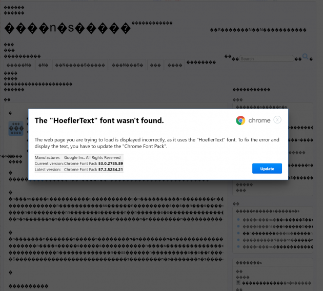 1 large HoeflerText Font Wasnt Found Malware Attack For Chrome Identified