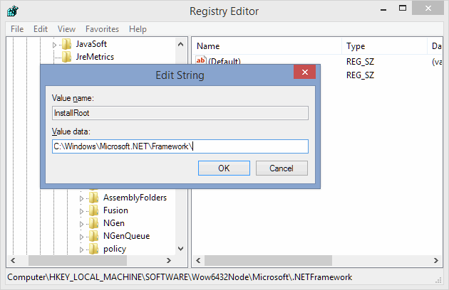 2 full Fixing Please set registry key HKLM  Software  Microsoft  NETFramework  InstallRoot to point to the NET Framework install location error on a 64bit Windows PC