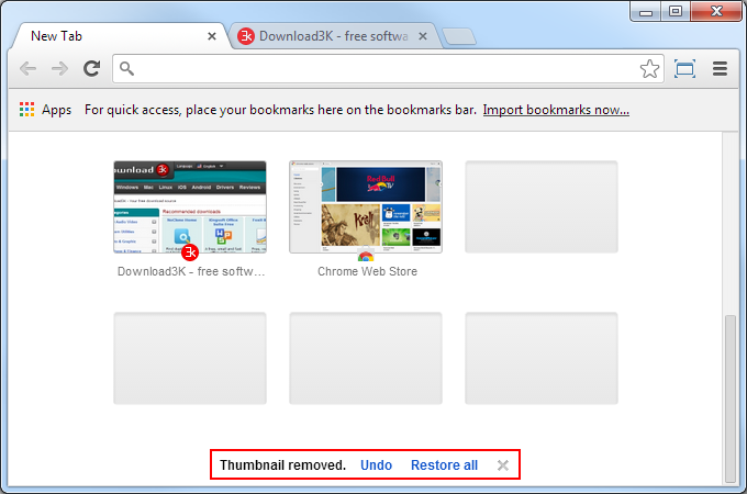 how to restore short cut in new tab chrome