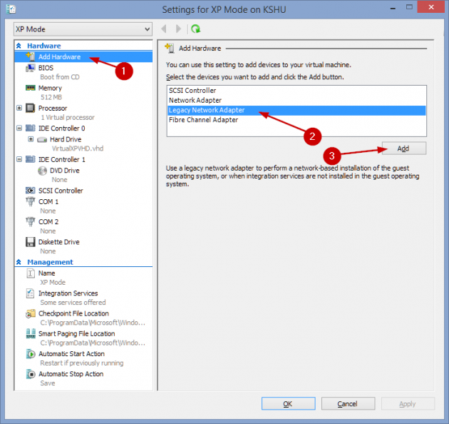 14 large How to add an XP Mode Virtual Machine to Windows 10 or 8 using HyperV