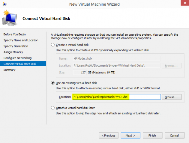 7 full How to add an XP Mode Virtual Machine to Windows 10 or 8 using HyperV