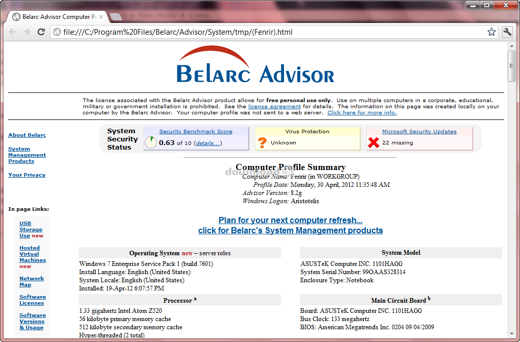 Download Advisorinstaller Exe Free Belarc Advisor 8 5b