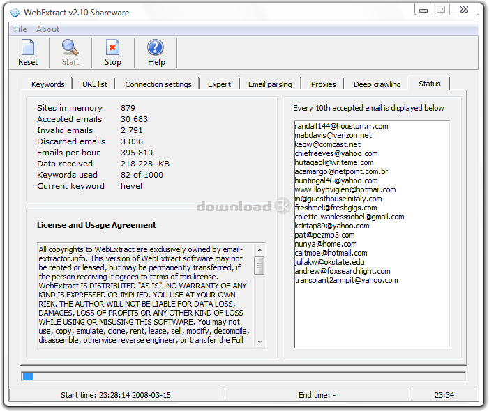 WebExtract is a very fast email extractor.