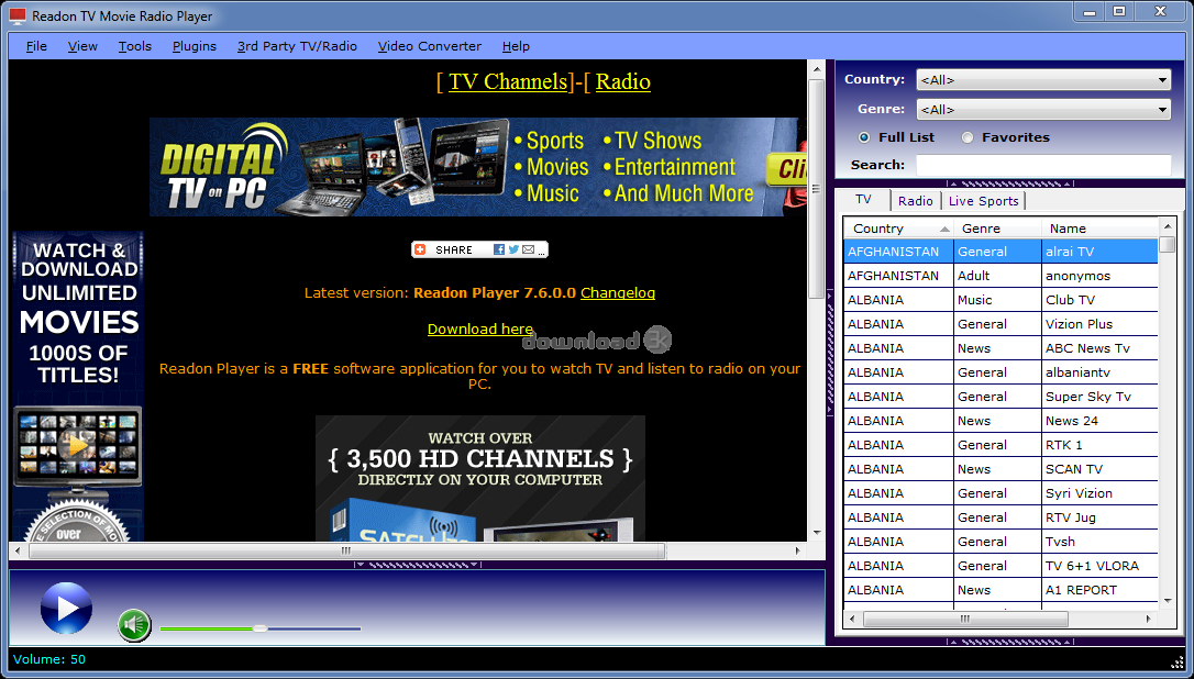 7.6.0.0 TV RADIO GRATUIT MOVIE TÉLÉCHARGER READON PLAYER