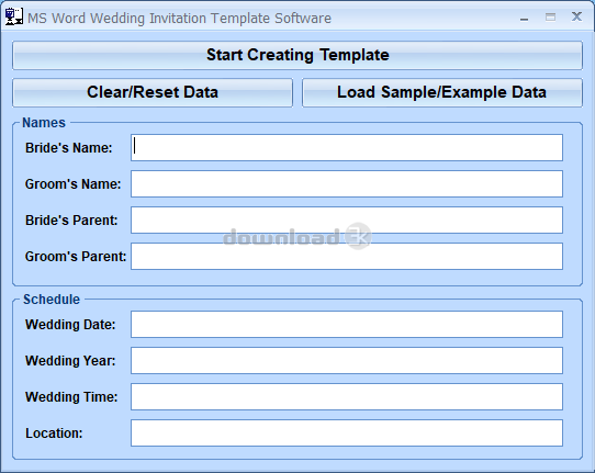 MS Word Wedding Invitation Template Software Screenshot 0