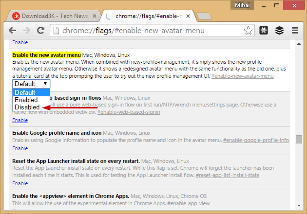 How to remove the Account Switcher / Avatar Menu in Google Chrome