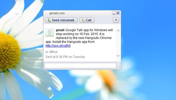 Google will disable Google Talk (Gtalk) for Windows on 16 February