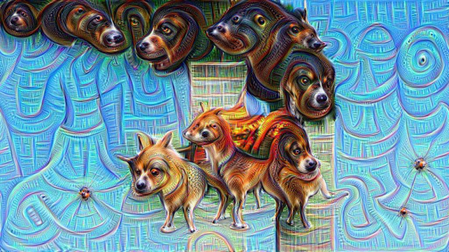 This is one example of what DeepDream sees in an image depcting the two Towers (Photo: Matěj Schneider/Twitter)