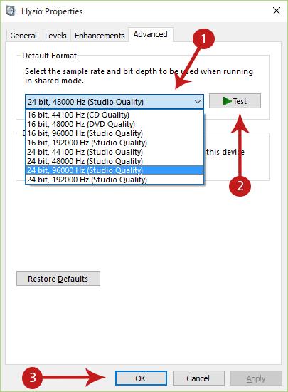 how to set default audio device windows 10