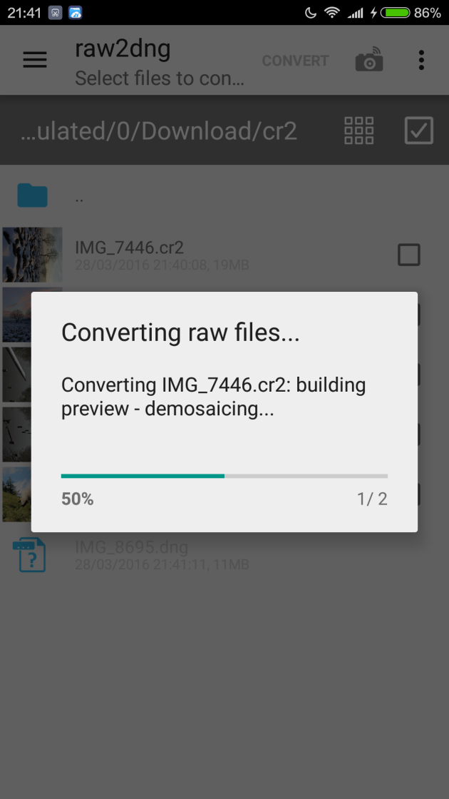 How to convert DSLR RAW images to DNG and edit them on Android