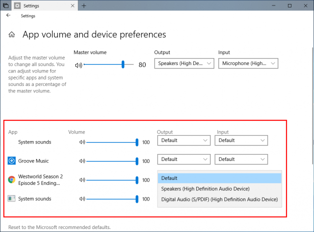 4 large How to assign applications to different sound outputs and inputs in Windows 10