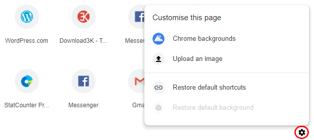 Built-in options to customize Google Chrome's New Tab page
