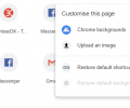 Built-in options to customize Google Chrome's New Tab page (edit shortcuts, backgrounds, flags)