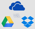 Comparison table of the latest storage plans for Google Drive, Microsoft OneDrive, Dropbox