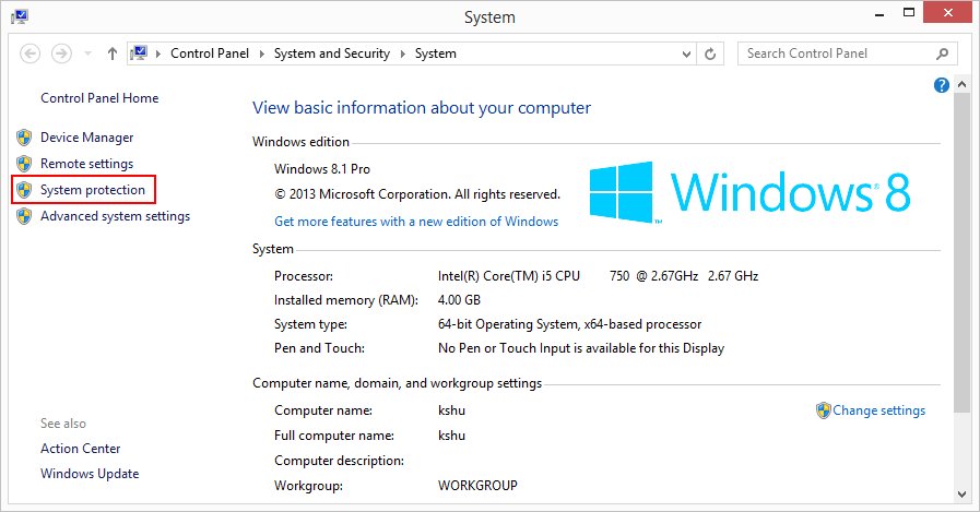 4 full What is System Protection in Windows 8 and how to enable or disable it