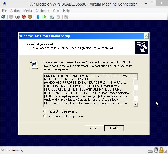 "Installing ""windows virtual pc"" without ""windows xp mode"" into a."