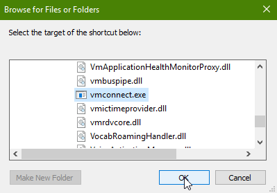 5 full How to create a shortcut for each HyperV Virtual Machine in Windows 10 or 8
