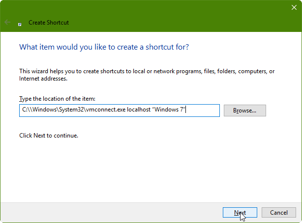 7 full How to create a shortcut for each HyperV Virtual Machine in Windows 10 or 8