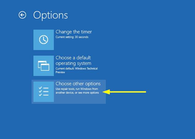 How to access the Boot Options menu in Windows 8 and 10