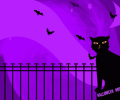 Cat and Bats Halloween Wallpaper Screenshot 0