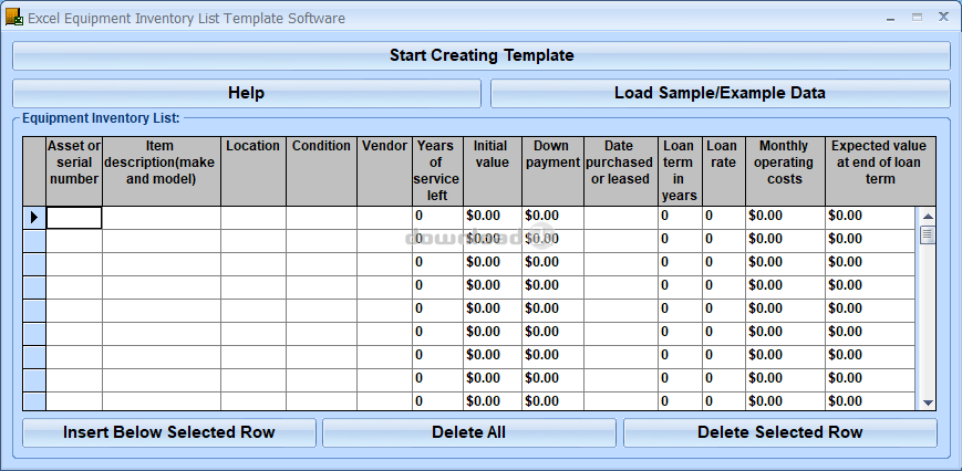 excel equipment inventory template