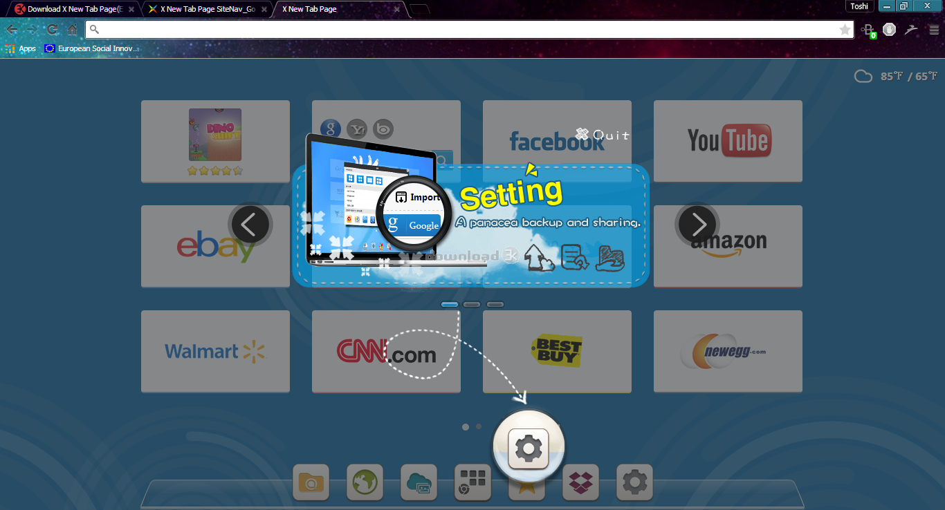 New tab plus download